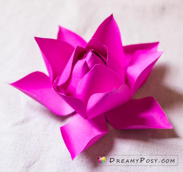 Lotus paper flower, free template and tutorial