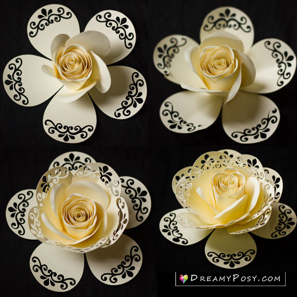 Lace rose paper flower template