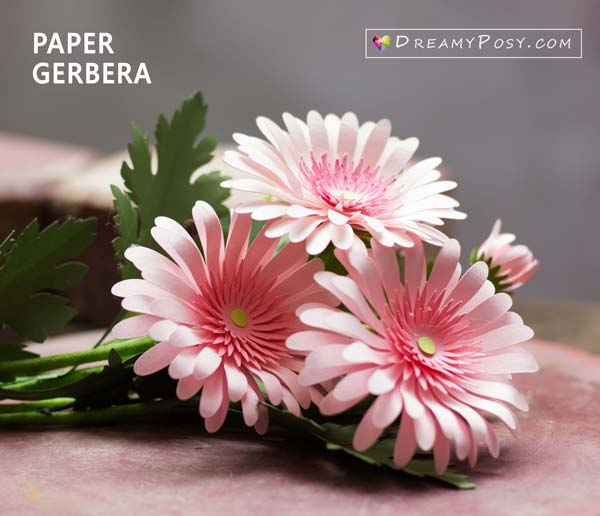 Paper daisy flower with FREE full tutorial and template