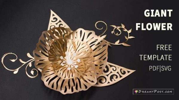 Giant cut-out flower, free templates and tutorial