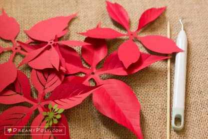 Paper Poinsettia template and tutorial