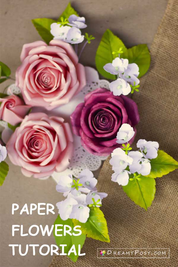 Paper Hydrangea and rose flower