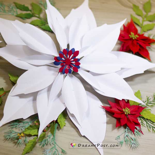 Paper large poinsettia template
