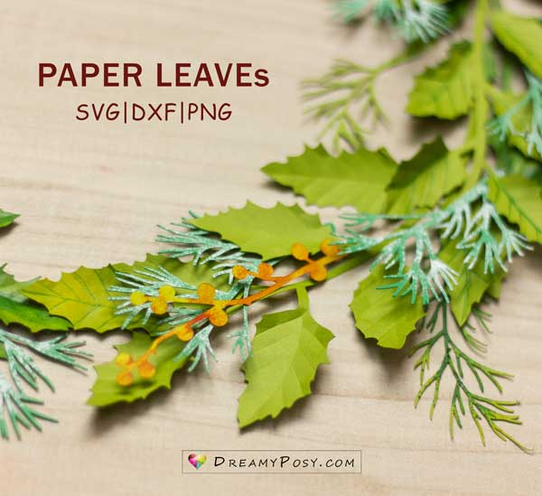 Christmas paper leaves
